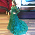 Long Evening Dresses 2017 Sheer Long Sleeves lace Prom dresses New Designer Style O-Neck green Lace Appliques formal party dress