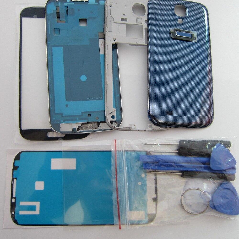 Volle Gehäuse fall Für Samsung Galaxy S4 i9500 Front & Mittleren Rahmen Lünette + Zurück fall + Äußere glas + werkzeuge + kleber + OCA kleber
