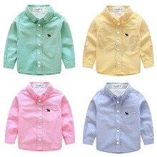 Хлопковая рубашка с длинными рукавами для мальчиков, Осень-зима 2018, весна-осень, корейская детская одежда, белая однотонная Детская рубашка