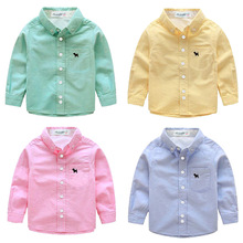 New Boy Cotton Long-sleeved Shirt Autumn Winter Spring and Autumn Korean Children's Clothing White Solid Color Baby Shirt