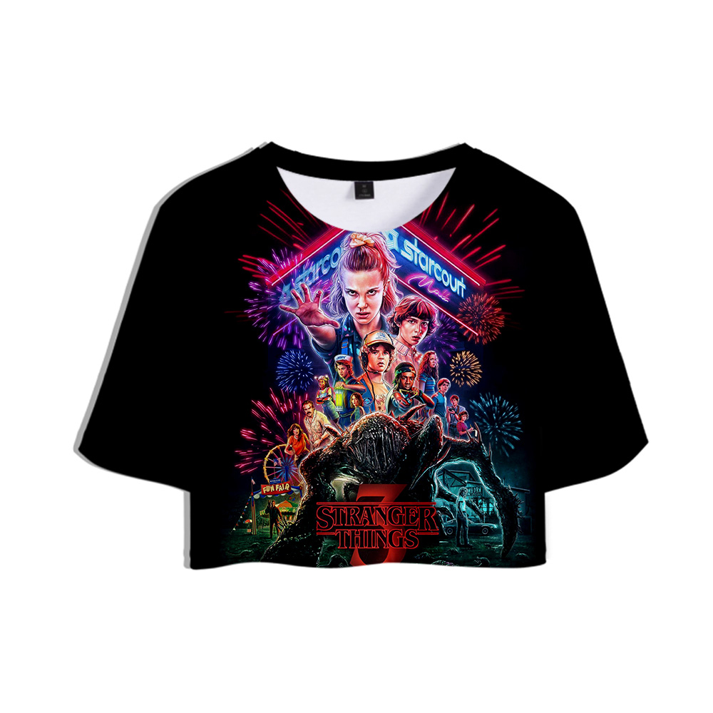 2019 American Horror TV series Stranger Things New <font><b>3D</b></font> Print Tops Crops Girl <font><b>t</b></font>-<font><b>shirt</b></font> Short <font><b>T</b></font> <font><b>shirt</b></font> Women <font><b>Sexy</b></font> Sale Casual Clothes image
