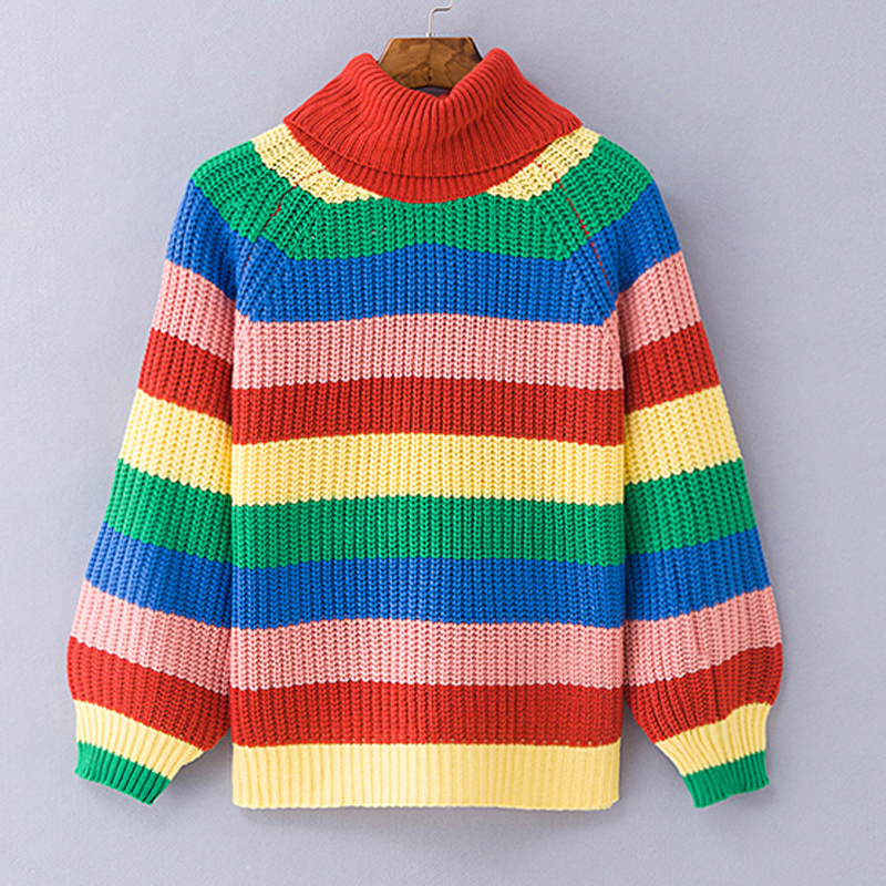 Simenual Rainbow turtleneck sweaters women winter 18 jumpers knitted clothes fashion striped oversized pullover female sale 10