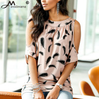 Avodovama M Women Summer 2017 Fashion Blouses Floral Print Round Neck Half Sleeve Off Shoulder Feathers