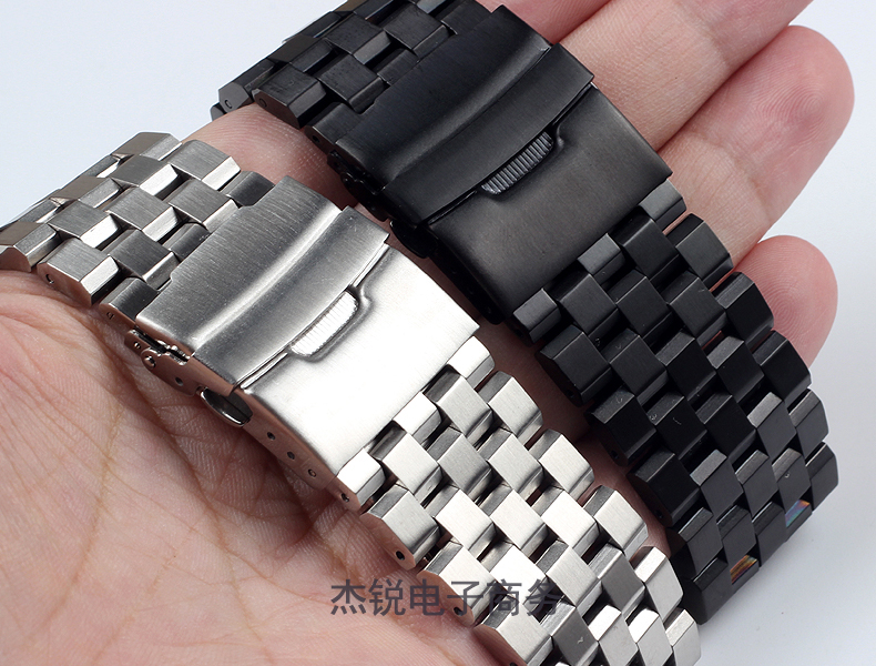 prateado preto masculino pulseiras de relógio de metal