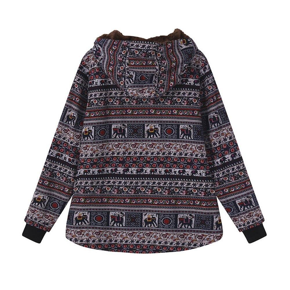 Winter Jacket Women Parkas Warm Outwear Button Vintage Ethnic Print Fleece Thick Hooded Coats womens winter fashion 2018