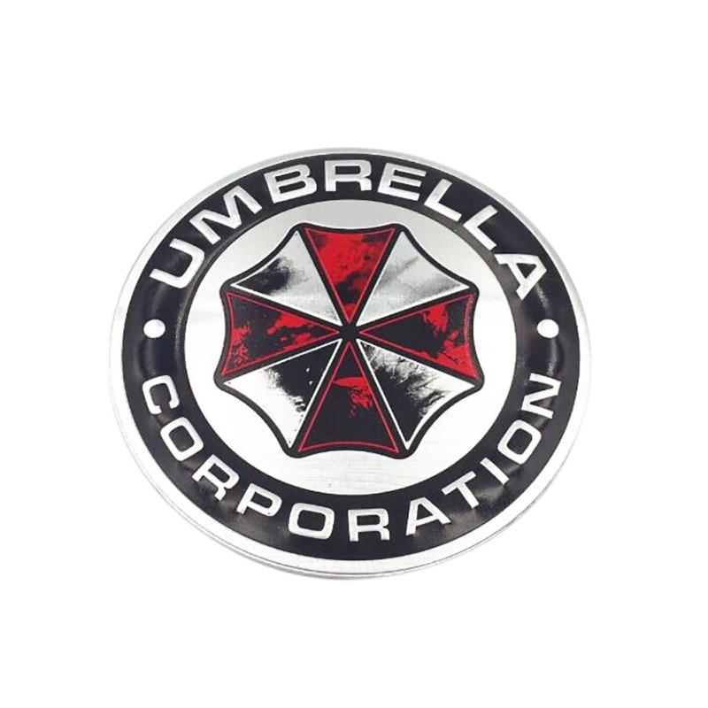 3d Ombrello In Lega Di Alluminio Corporation Adesivi Per Auto Resident Evil Decalcomanie Emblem Decorazioni Badge Car Styling Accessori Bianco Puro E Traslucido
