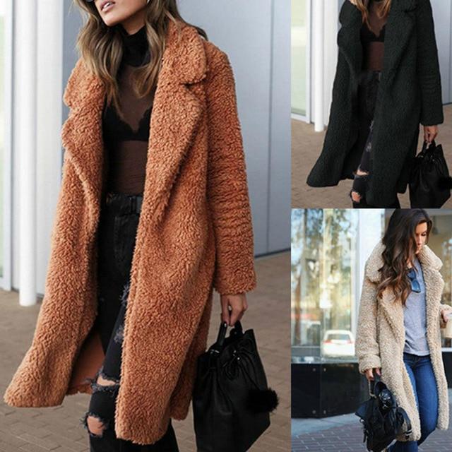63c9001538b New 2018 Fall Autumn Fashion Vintage Lapel Pocket Women s Wool Long Coat  Tweed Womens Winter Long