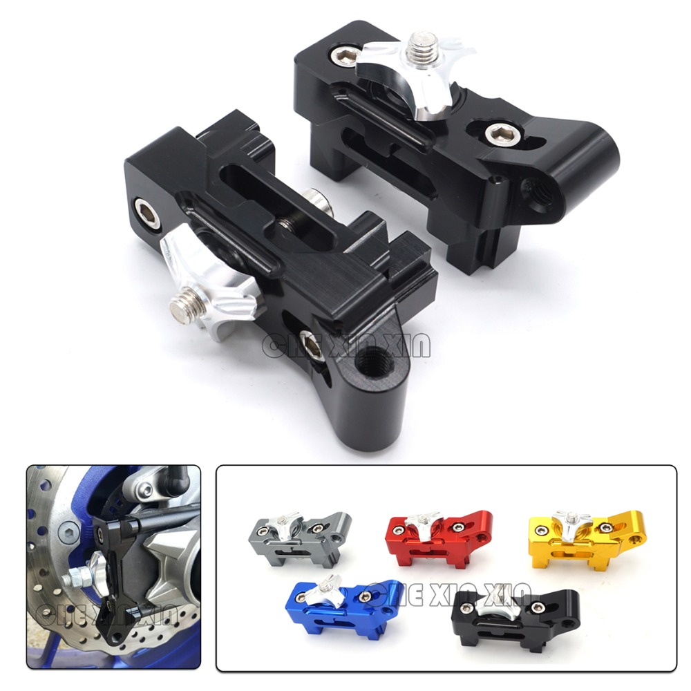For Yamaha MT 07 MT07 MT-07 2013-2015 2016 Motorcycle Aluminum Rear Axle Spindle Chain Adjuster Blocks 2 Pieces