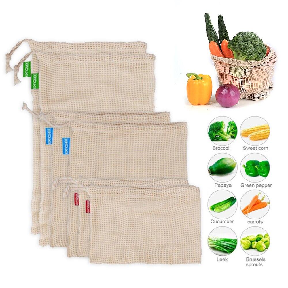3pcs Reusable Cotton Mesh Produce Bags for Vegetable Fruit bolsas reutilizables verduras y fruta Portable Washable Storage Bag flat panel display