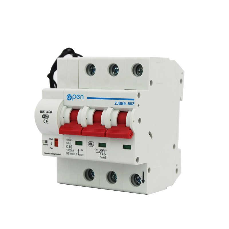 Disjoncteur télécommande wifi 3P ouvert | Commutateur intelligent, surcharge et protection de Circuit court avec Alexa et google home