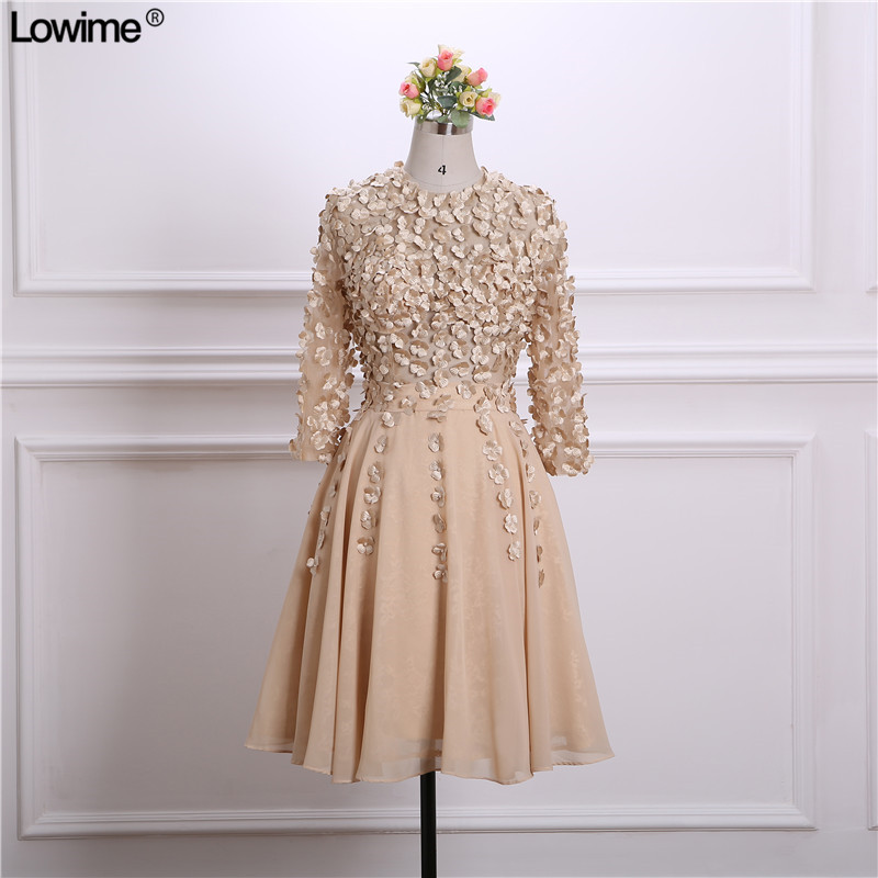 2018 Hot Sale Chiffon Short   Cocktail     Dresses   Party   Dresses   Appliqued Pearls Long Sleeves Zipper Back Gowns
