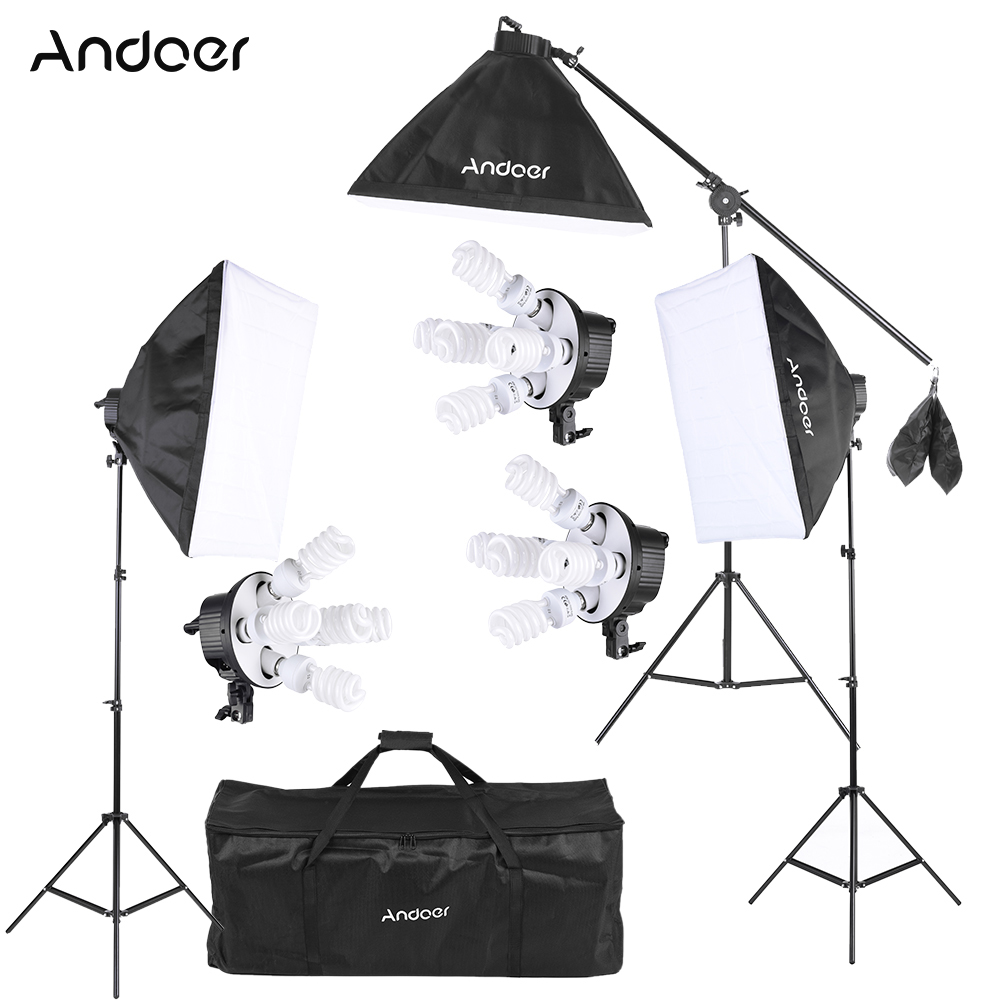 Andoer Studio Photo Lighting Kit With 2 Softbox 2 4in1 Bulb Socket 8 45W Bulb 2 Light Stand 1 Carrying Bag