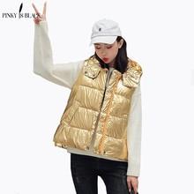 PinkyIsBlack Fashion Women Vests Waistcoat 2019 Autumn Winter Short Down Cotton Padded Vest Female Sleeveless Jacket Hooded Vest цена 2017