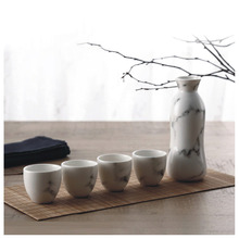 5 Piece Ceramic White Traditional Japanese Sake Set with Marble Design