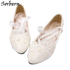 Image 5 - Женские свадебные туфли лодочки на высоком каблуке, с кружевной аппликацией