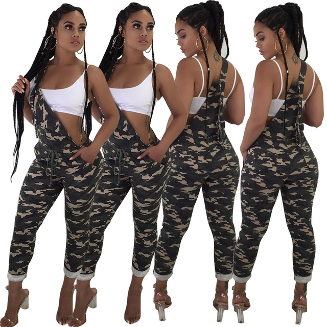 e7571c814175 Army Green Camouflage Printed Jumpsuit Women Summer Spaghetti Strap Pockets Casual  Camo Overalls One Piece Jumpsuit Rompers