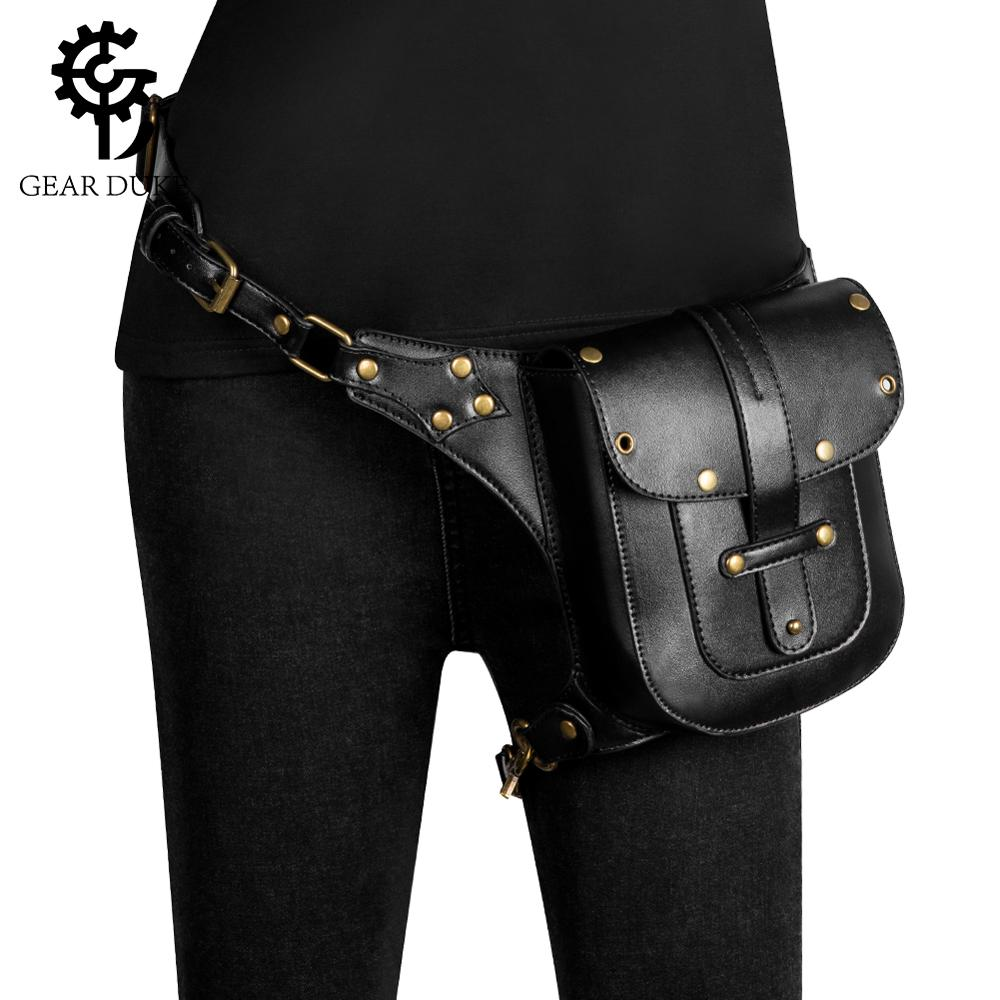 GearDuke Punk Rock Women Motorcycle Bag Men Steampunk Chain Belt Waist Bags Moto Biker Shoulder Crossbody Bag Chest Pack For Man