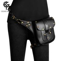 GearDuke Punk Rock Women Motorcycle Bag Men Steampunk Chain Belt Waist Bags Moto Biker Shoulder Crossbody Bag Chest Pack for Man