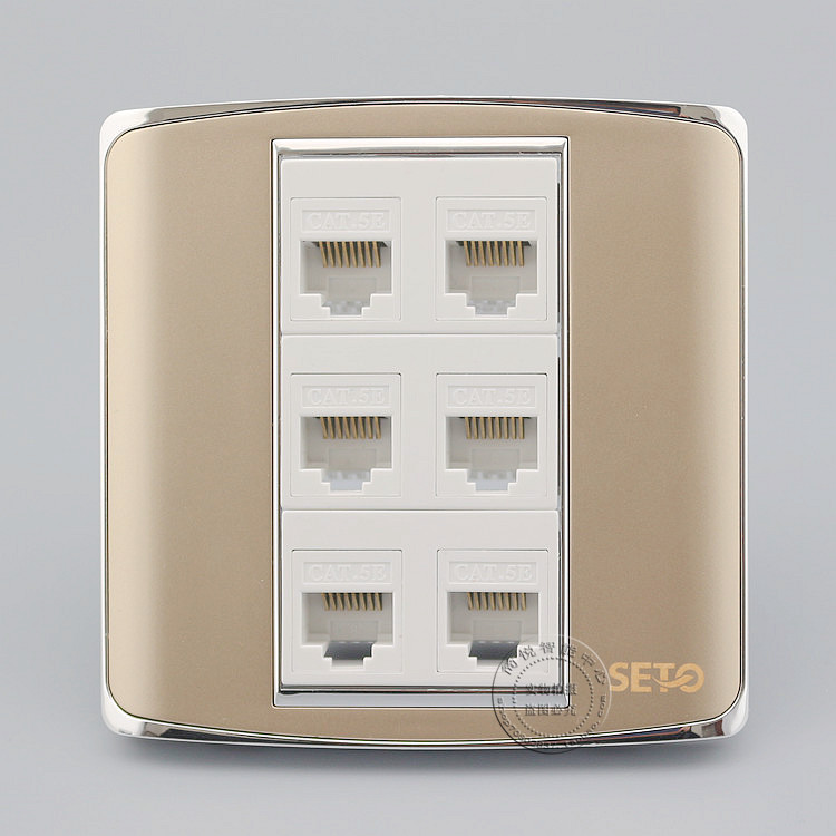 цена на Wall Plate Champagne Color 6 Port RJ45 Cat5e Network Ethernet LAN Socket Outlet Panel Faceplate