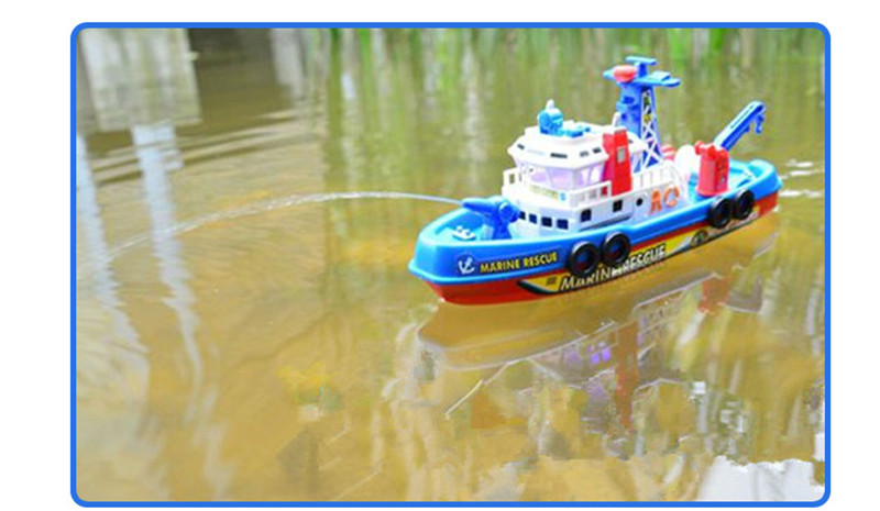 Children Bath Toys  Marine Rescure Fire Boat Battery Operated With Sound Light Water Spray Function Kdis Gift Brinquedos