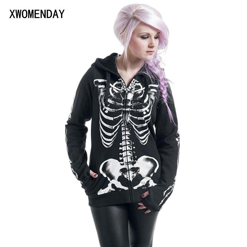 Women Fashion Skull Print Gothic Punk Long Sleeve Hoodies Plus Size Sweatshirt 2018 Fashion Kpop Streetwear Black Zipper Jacket