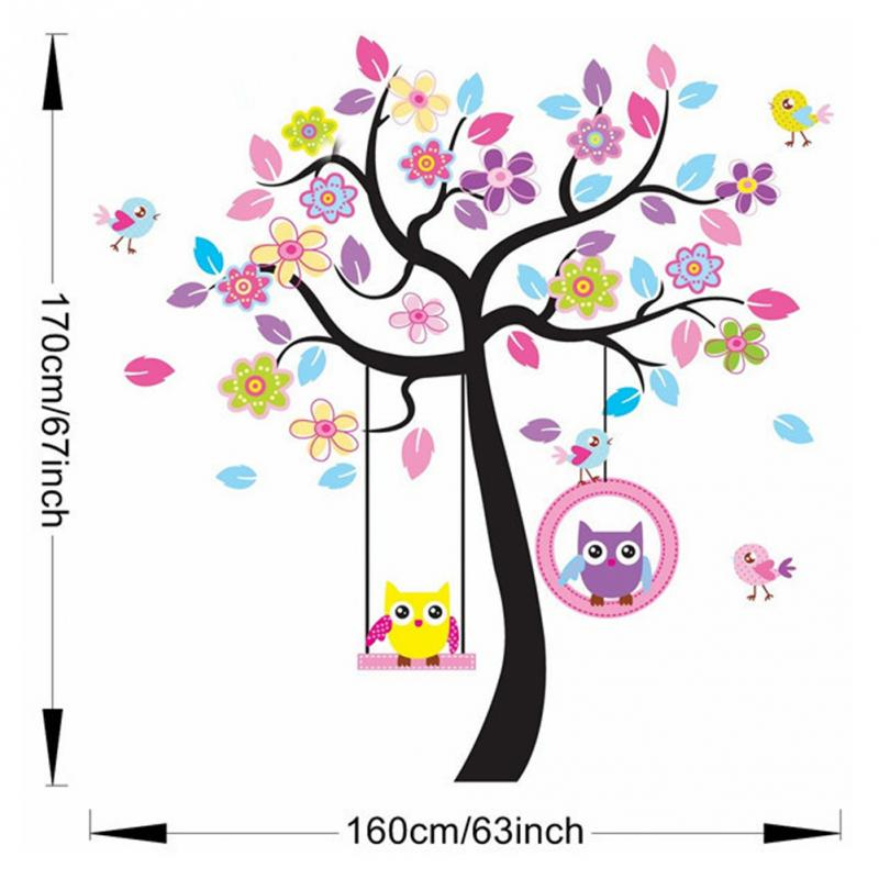 new Kids Room Wallpaper Beautiful Owls On Swing Colorful Trees Removable Wall Stickers Living Room Decorative Wall Stickers high quality colorful flowers and girl pattern removeable wall stickers