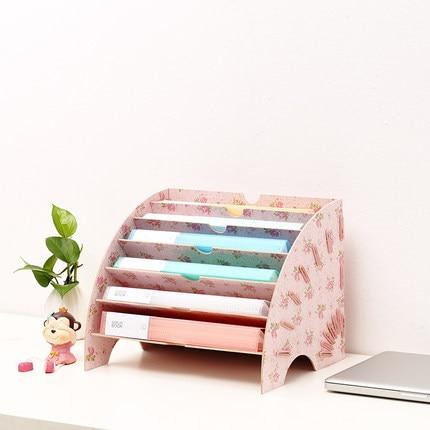 Kreative Desktop Aktenhalter Dokument Aufbewahrungsbox Dekorative Schreibtisch Veranstalter Holz Schreibtisch Sets - 2