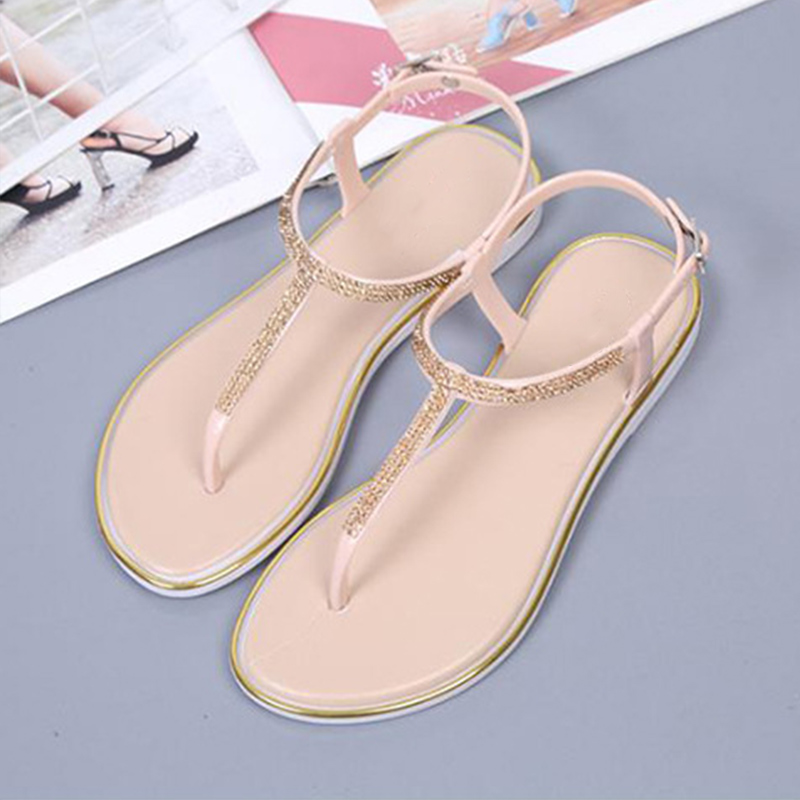 MCCKLE Women Flat Buckle Thong Sandals Ladies Crystal Ankle T-Strap Platform Fashion Casual Shoes Female Footwear Summer New