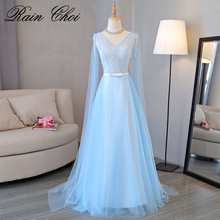 Robe de fille d'honneur A Line Sky Blue Bridesmaid Dresses 2019 Sexy V Neck Prom Dress Party Gowns With Sash