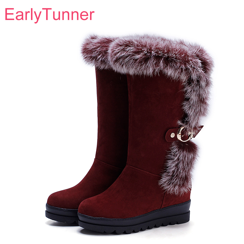 Brand New Hot Winter Warm Black Red Women Furry Snow Boots Beige Comfortable Rabbits Fur Lady Shoes EG055 Plus Big Size 10 34 43 brand new winter quality women mid calf wedges boots fashion black red beige lady riding shoes eym02 plus big size 10 43