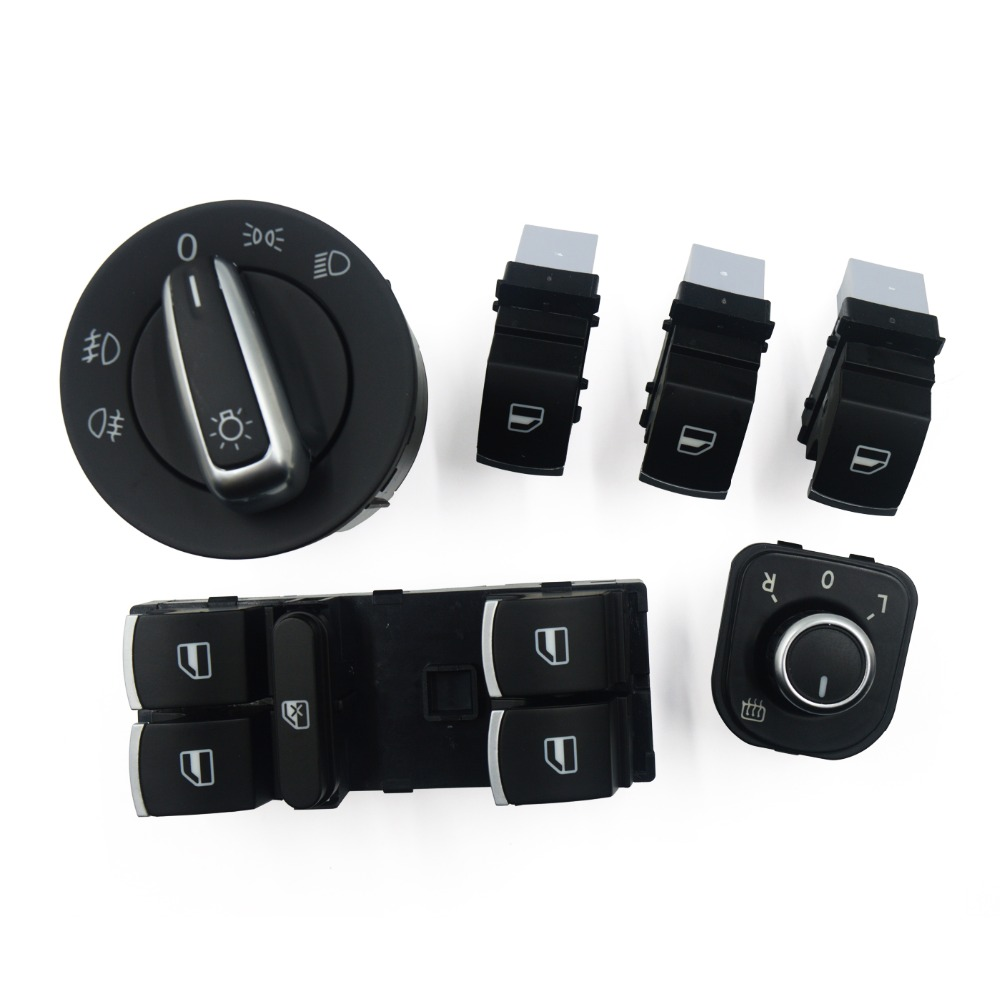 Window Mirror Headlight Switch For VW Jetta 5 6 Golf GTI 5 6 PLUS Tiguan Caddy Passat B6 CC 5ND 959 857 5ND 959 565B 5ND941431A(China)