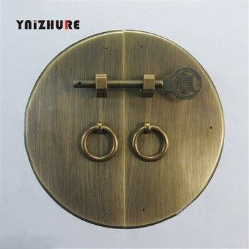 160MM Chinese Meubelen Dubbele Deur Koperen Handvat Antieke Doorplate Kastdeur Pull Ring Ronde Kast Handvat