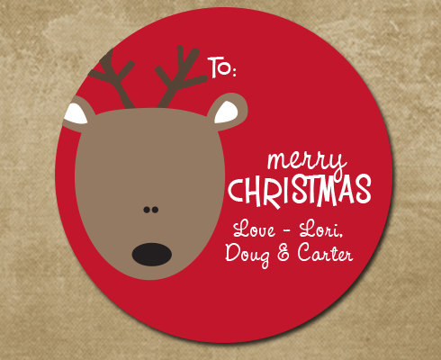 Personalized christmas stickers christmas reindeer labels christmas stickers round holiday label rudolph