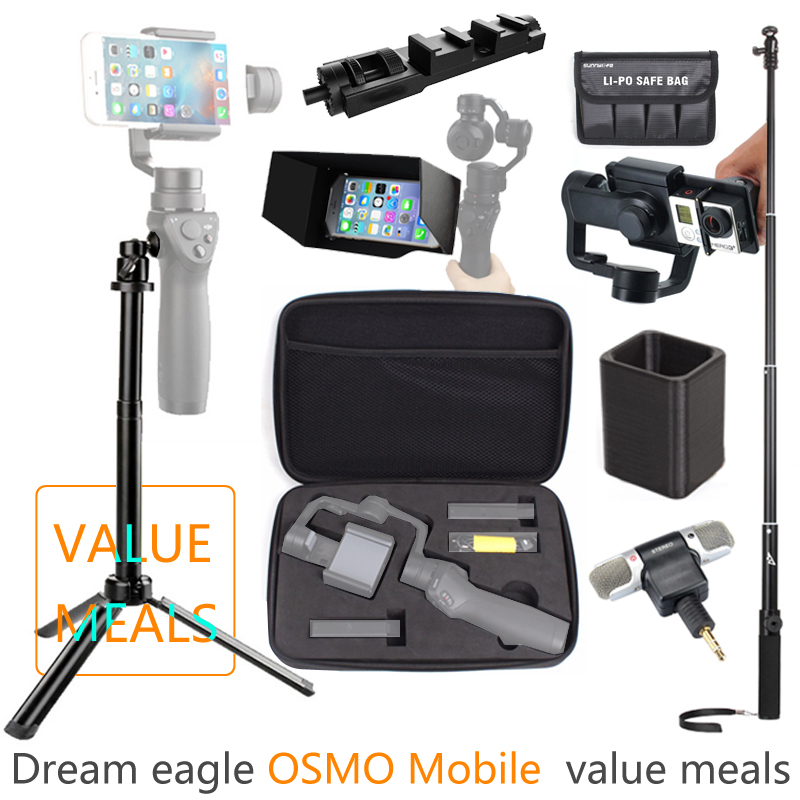 DJI OSMO Mobile Handheld Gimbal Value meal+Tripod Flat Bracket+Microphone+Package+Self-timer