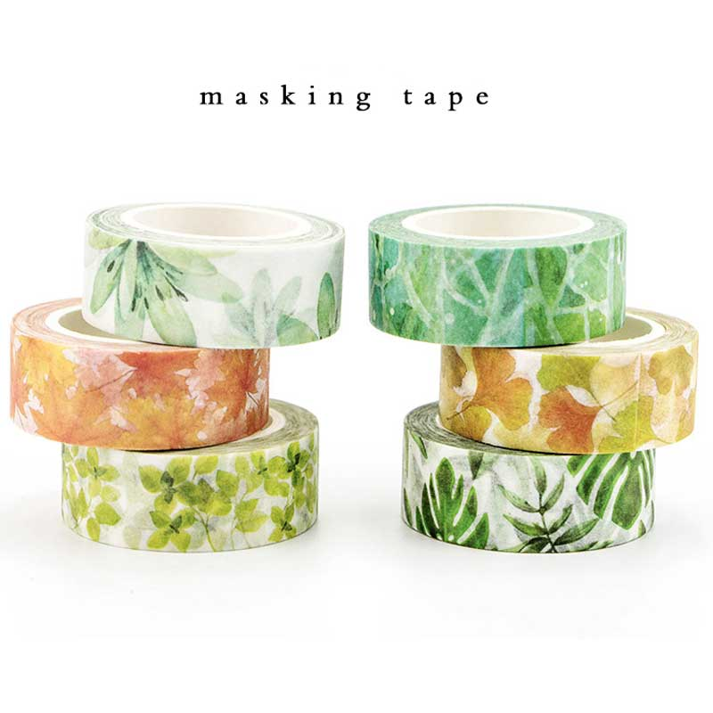 Japanese Cute Kawaii Colorful Flowers Leaf Masking Washi Tape Decorative Adhesive Tape Diy Scrapbooking School Office Supply colorful gilding hot silver alice totoro decorative washi tape diy scrapbooking masking craft tape school office supply
