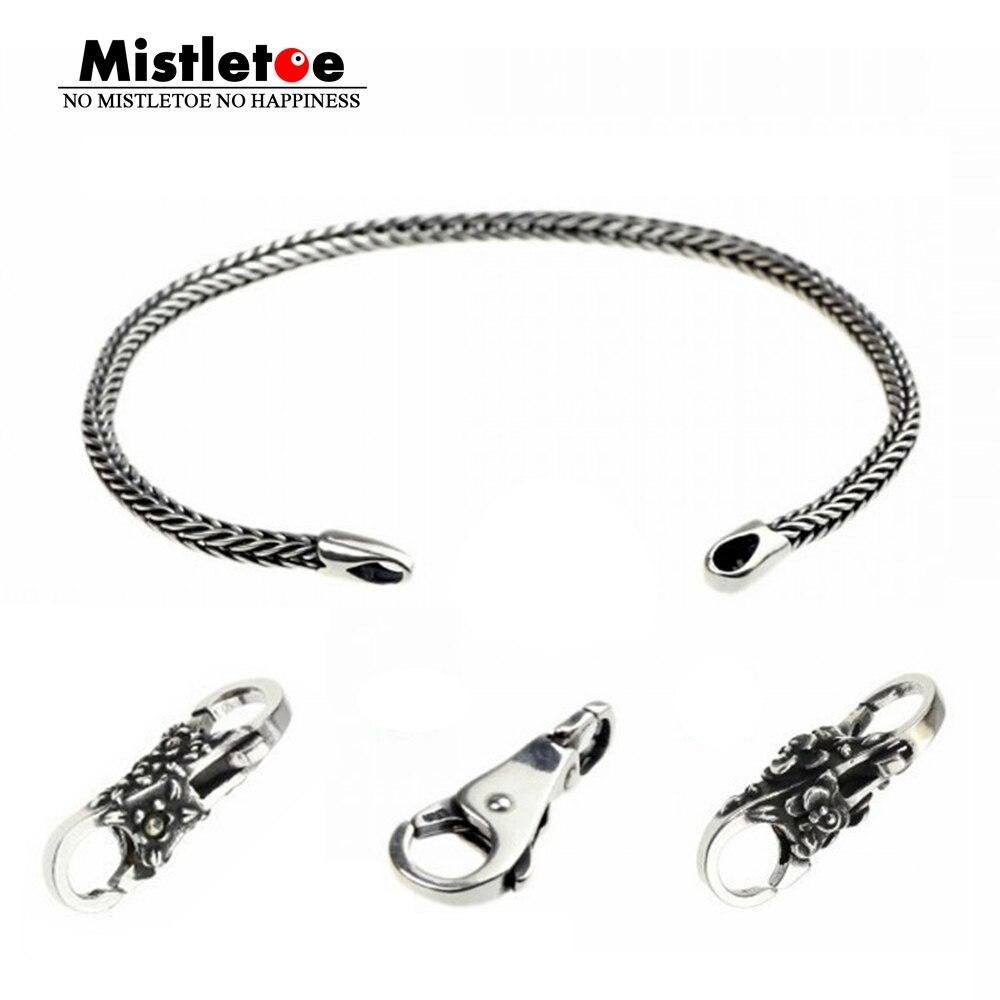 Genuíno 925 Pulseiras de Prata Esterlina Encantos Flor Prata Locks Beads Encantos Fit Europeu Troll Bracelet Jóias