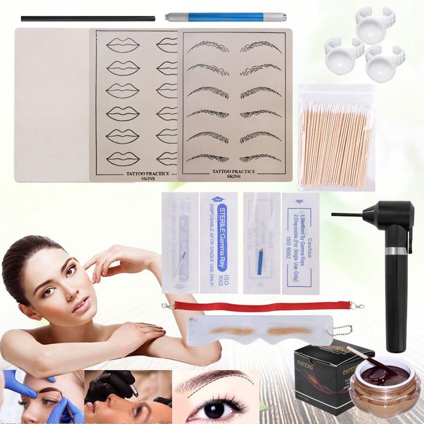 Permanent Makeup Kit Tattoo Manual Pen Practice Skin Ink Mixer Microblading Needles Eyebrow Pencil Ruler Set Beginners Practice