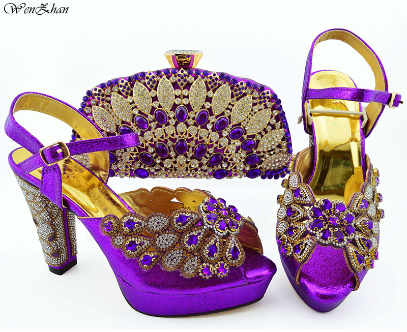 Beautiful purple Italian Shoes With Matching Bags African Women Shoes and Bags Set For Prom Party Summer Sandal! WENZHAN B94-5Beautiful purple Italian Shoes With Matching Bags African Women Shoes and Bags Set For Prom Party Summer Sandal! WENZHAN B94-5