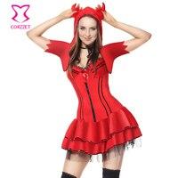 Red Spregiudicatezza Devil Halloween Costume di Carnevale Del Partito Cosplay Demone Vestito Fantasia Costumi Sexy Per Adulti Vampire Costume