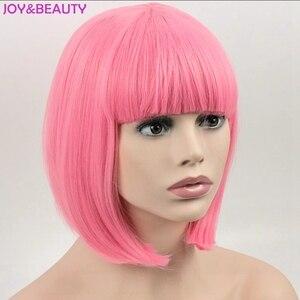 Image 4 - NIỀM VUI & LÀM ĐẸP Tóc Ngắn Bob Thẳng Tóc Giả Tóc Tổng Hợp Hóa Tóc Giả Sợi Nhiệt Độ Cao Hồng Dài 12inch Nữ bộ tóc giả