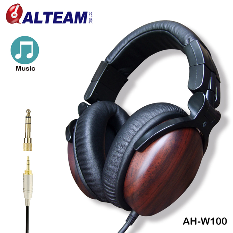 High Quality Fashion Wired Headband 50mm Big Over Ear Bass Stereo Music Musical HD Hifi Monitor DJ Studio Wooden Wood Headphones 1 pc high quality double bass bow 3 4 baroque bass bow snake wood