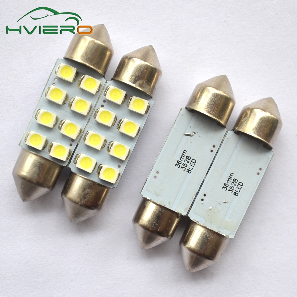 Hviero 2Pcs 31mm 36mm 39mm 41mm White 3528 1210 Car Light 8 SMD C5W 8 LED Festoon Dome Reading Lamp Decorating Tail Bulb DC 12V 2pcs white red blue t10 24 smd cob led panel car auto interior reading map lamp bulb light dome festoon ba9s 3adapter dc 12v led