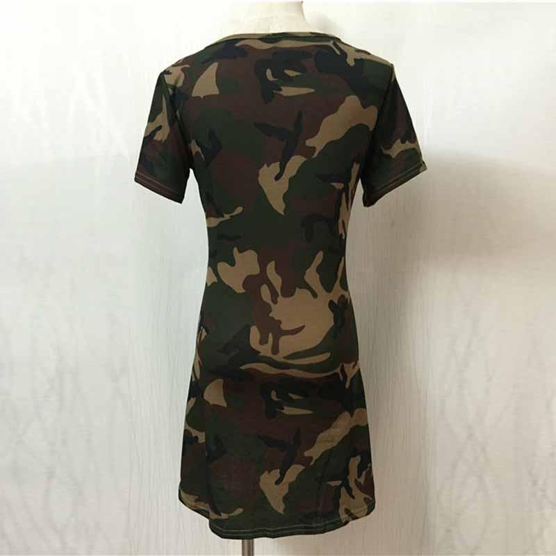 355c15bd Wavaiov 2018 Fashion Women Summer Dress Short Sleeve Sexy Mini Dresses  Green Camouflage Print Midi Dress Woman Vestidos S-XL   Ladies Mall