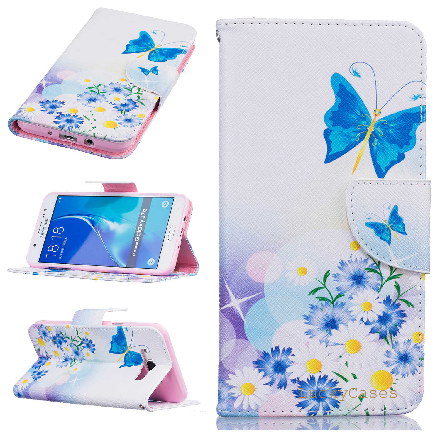Fashion Flower Tree Animal Pattern PU Leather Case For Samsung J710 J7 2016 Wallet Flip Magnetic Fundas Coque Phone Bags