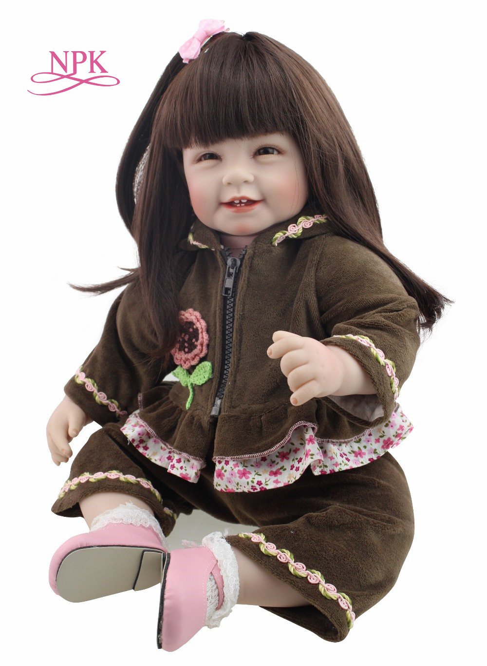 NPK Silicone Reborn Baby Doll Toys 22 inch with Long hair Realistic Baby Dolls 100% Handmade Girl Reborns Kids PlaymatesNPK Silicone Reborn Baby Doll Toys 22 inch with Long hair Realistic Baby Dolls 100% Handmade Girl Reborns Kids Playmates