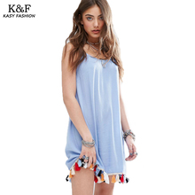 Women Summer Strap Dress 2018 Fashion Coloful Tassel Designer Casual Straight Dresses Femme Robes Pull de Bretelles Bleu Courte