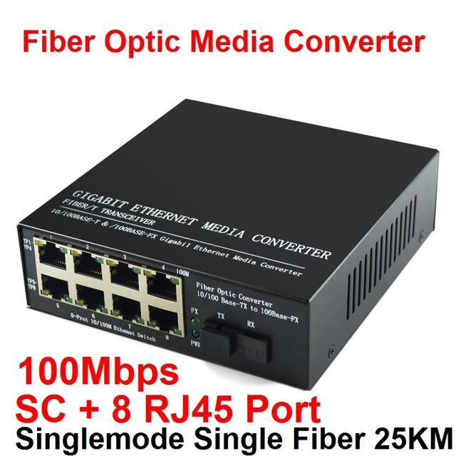 10/100 M Convertidor de Medios De Fibra Óptica Monomodo de Fibra única con SC y 8 Puerto RJ45 hasta 25 km
