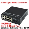 10/100M Fiber Optic Media Converter Singlemode Single Fiber with SC and 8 RJ45 Port up to 25km