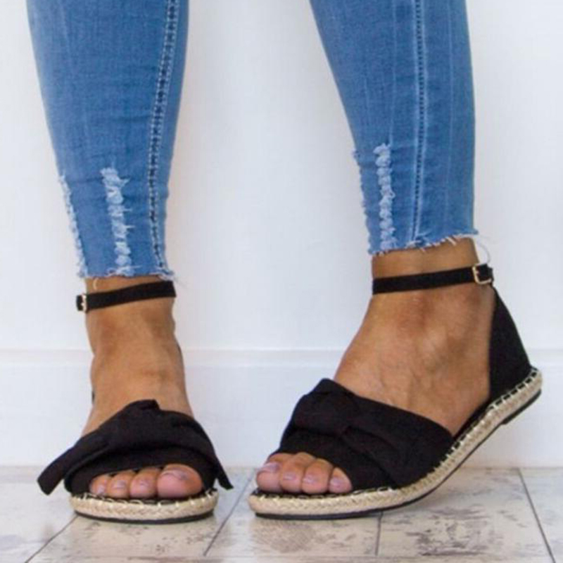 Covoyyar Negros Roma 2019 Sandalias Caliente Zapatos Grandes Negro Verano gris De Mujeres Tallas Pajarita Hebilla rosado Las Señoras Correa Plana Wss946 qx64nqfr
