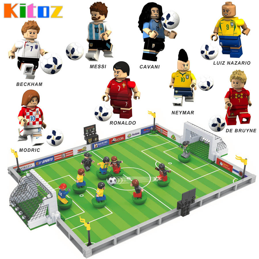 US $8 91 OFF Kitoz Russia Sport World Figure Messi Ronaldo Beckham Neymar Football Cup Game Field Building Block Toy Blocks AliExpress